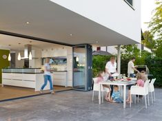 Solarlux Bi-Folding doors - seamless transitions between inside and outside which extend living space almost boundlessly into the open. Sliding Patio Doors, Folding Doors, Glass Facades, Architect House, Other Rooms, Home And Living, Sweet Home, New Homes, Pergola