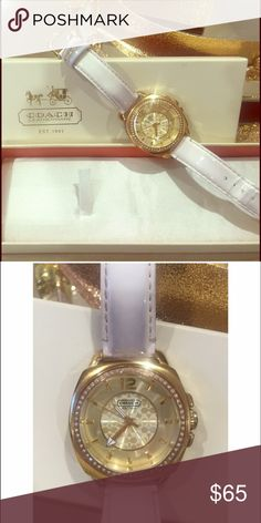 Coach watch Genuine white patent leather strap. Gold rim with diamond surrounding. The strap has color stains from clothing. Does come with its original box. Battery not working Coach Accessories Watches