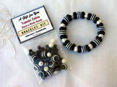 "DIY Tuxedo Zebra Bracelet Kits, Black & White, ""Easy To Do"" Kits, Party Favors, Birthdays, Order 4 or More--get 10% Off"