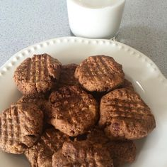Chocolate Peanut Butter Cookies shared by busygirlhealthyworld!  1 flax egg (1 tbsp ground flax + 3 tbsp water), 1 cup natural peanut butter, 1/2 cup coconut sugar, 1/2 cup chocolate Perfect Fit Protein, 2 tbsp cacao powder. Mix all ingredients together in a bowl until smooth. Roll into balls and press down into a criss-cross pattern using a fork. Bake at 350 degrees for 10 minutes. Makes 12 cookies.