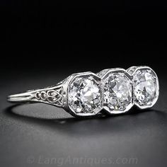 Three-Stone Antique Diamond Ring - 10-1-4430 - Lang Antiques