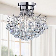 Indoor 3-light Chrome/ Crystal Chandelier, Silver