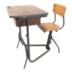 School Desk by Jean Prouve Console Table, Dining Table, Blotting Paper, School Desks, Vintage School, Pen Nib, Historical Pictures, Drafting Desk, Aliens