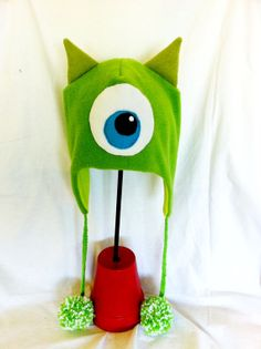 Mike Wazowski Inspired Ear Flap Beanie/Cap by BeaniesWithCharacter, $20.00