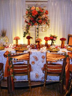 Gold and Copper Wedding Table by Flower Factor, via Flickr,  By Blumz... by JRDesigns Floral and Event Professionals in Detroit and Ferndale, Michigan.  Award winner floral designers!