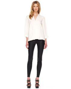 MICHAEL Michael Kors  Silk V-Neck Blouse & Leather Leggings.