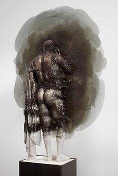 Nick van Woert- Disappear Fiberglass, urethane plastic, steel pedestal 200.6 x 83.8 x 27.9 cm / 79 x 33 x 11 in 2012