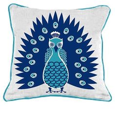Bring a splash of contemporary style to your duvet, settee, or sofa with this inspired pillow from Room Service, covered in crisp cotton with a decadently plush fill. Modern Throw Pillows, Linen Pillows, Decorative Pillows, Pillow Fight, Pillow Talk, Peacock Pillow, Room Setup, Desk Setup, Peacock Design