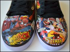 Custom Mens Comic Book Skater Style Shoes by PricklyPaw, $68.50 #marikan #bacon #eliteretweets