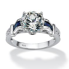 5.01 TCW Round Cubic Zirconia and Sapphire Ring in Sterling Silver at PalmBeach Jewelry