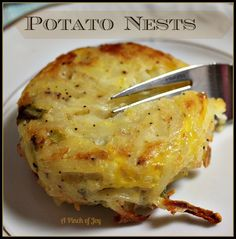 Potato Nests      1 20 ounce package shredded refrigerated potatoes (I use Simply Potatoes)      2 large eggs, beaten      6 green onions chopped      1 cup shredded cheese (I used Colby jack, but your choice)      ½ cup shredded Parmesan cheese      ½ teaspoon salt      ¼ teaspoon ground pepper or to taste  Bake 375 20-25 min