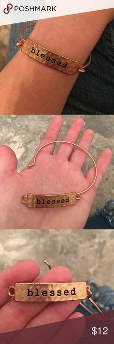 Rose Gold Colored 'Blessed' Bracelet Hammered 'blessed' rose gold colored bracelet/bangle. Jewelry Bracelets