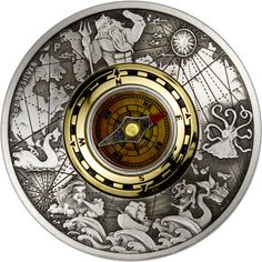 2017 Tuvalu 2 oz $2 silver coin - Antique Compass (antique finish and real compass insert).