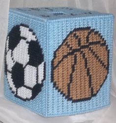 LET'S PLAY BALL BOX PLASTIC CANVAS PATTERN
