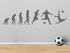 Simple Das Wandtattoo Fu ball Evolution als lustige Dekoration in der Turnhalle im Fitnessstudio oder