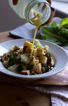 Roasted broccoli, almond,   apple salad with cider vinaigrette.