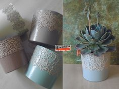 Pentart dekor: Tejfölös vödörből szobanövény kaspó Peridot, Planter Pots, Vintage, Peridots, Vintage Comics