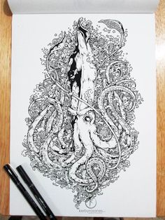 A selection of monochrome illustrations and doodles on Moleskine created by illustrator Kerby Rosanes, based in the Philippines. Some beautiful and complex cre