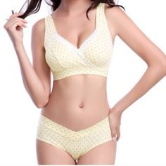 Polka Dot Cotton Maternity Nursing Bra & Panty Set Brand new. Comfy and stylish maternity bra and panty set. Has extenders to expand bra width. Slightly padded. Cup is one size (like a sports bra). No wire. Price is firm. 15% bundle discount. LuckMia Intimates & Sleepwear Bras