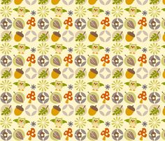 owl autumn pattern fabric by utehil on Spoonflower - custom fabric