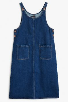 Monki Image 1 of Denim dungaree dress in Blue Dark