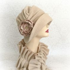 SOFT FLEECE CLOCHE HAT - THE ALICE WITH WIDE FRONT BRIM AND FLOWER