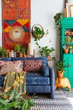 """Designer and founder of Jungalow, Justina Blakeney, makes sure to balance her signature maximalist style with empty spaces that act as little """"moments of calm."""""""