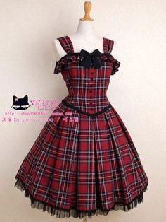 罗马假日Lolita洛丽塔公主洋装修身红格 无袖背心裙连衣裙-淘宝网全球站
