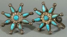 Antique 1940's ZUNI Old Pawn Sterling Silver Turquoise PETIT POINT STAR Earrings #ZuniOldPawn