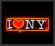 -Love New York neon sign available in neon red and white.