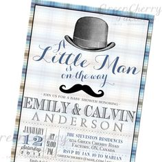 Little Man On The Way Co-Ed Baby Boy Shower Invitation - Top Hat Mustache Invite - Gray and Blue Plaid - Printable Invitation- No.243