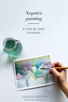 Watercolour painting class - negative painting Negative painting is based on layering watercolour paint. In this tutorial post I am showing you how to use this ethereal technique. Watercolor Negative Painting, Watercolor Paintings For Beginners, Watercolor Projects, Watercolor Tips, Watercolour Tutorials, Watercolor Techniques, Watercolor Cards, Simple Watercolor, Tattoo Watercolor