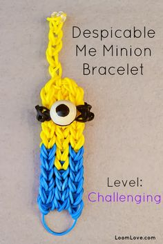 Rainbow Loom Patterns: Despicable Me Minion Rainbow Loom Pattern (youtube tutorial) See more: http://rainbowloompatterns.blogspot.com