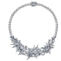 Tasaki, Icicles necklace, 18K white gold, south sea pearls white 11-12mm, akoya pearls 2.5-7.5mm, 9.5mm (akoya necklace 7mm), diamonds