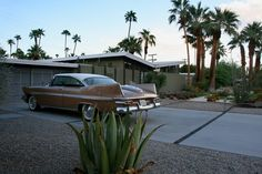 Modern roof lines and matching tail fins at Twin Palms, Palm Springs, CA