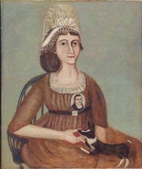 Portrait of a Woman Wearing a Miniature  Made in United States    c. 1830    Artist/maker unknown, American    Oil on canvas  28 1/16 x 23 9/16 inches (71.3 x 59.8 cm)    Currently not on view    PMA 1980-64-5