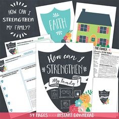 How can I strengthen my Family? Teaching Package.  This 40 page printable package can help you teach about how we can strengthen families.  This also includes a 10 month challenge for families to focus on the 10 principles that bring happiness in family life, as identified in The Family:  A Proclamation to the World.