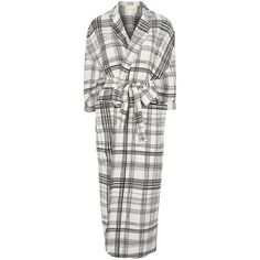 Topshop Grid Checked Duster Coat ($105) ❤ liked on Polyvore featuring outerwear, coats, cream, cream coat, white duster coat, white coat, silk coat and topshop coats