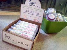 Labels For Truzzi's Bath & Body Lip balms and Display box