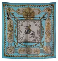 HERMES AUTHENTIC VINTAGE SILK TWILL SCARF FRANCE | 1963 LVDOVICVS MAGNVS BY FRANCOISE DE LA PERRIERE