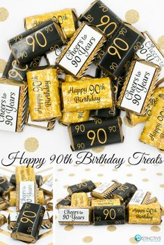 Gold And Black 90th Birthday Party Favor Stickers For Small Chocolates That Will Be A Sure