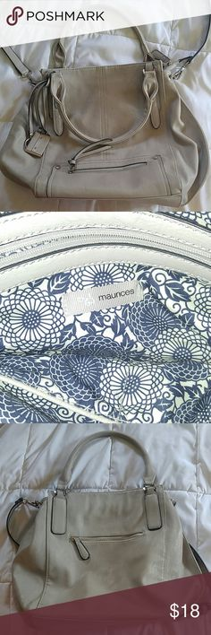 Gray Maurices crossbody purse Light Gray large purse. Can be over the shoulder or a crossbody bag. Gentely used other than a mark on the low back side of purse as shown in last picture. Maurices Bags Crossbody Bags