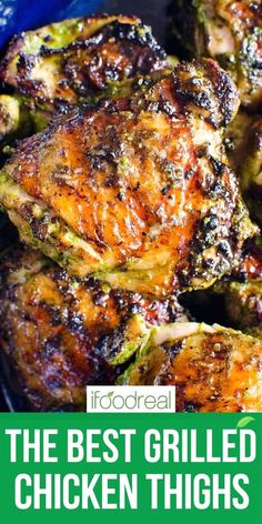 THE BEST Grilled Chicken Thighs are juicy, flavorful and easy. A sweet with heat simple marinade makes these chicken thighs a true crowd pleaser. Healthy Summer Recipes, Healthy Family Meals, Healthy Dinner Recipes, Delicious Recipes, Healthy Chicken Recipes, Meat Recipes, Cooking Recipes, Duck Recipes, Grilled Chicken Thighs
