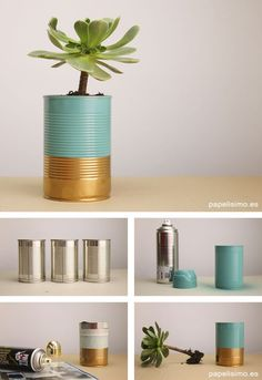 ✩ Check out this list of creative present ideas for bbq and grilling fans Recycle Cans, Diy Cans, Painted Flower Pots, Painted Pots, Upcycled Crafts, Home Crafts, Diy And Crafts, Tin Can Crafts, Creation Deco
