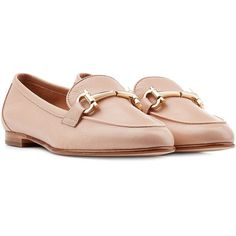 Salvatore Ferragamo Leather Loafers (€195) ❤ liked on Polyvore featuring shoes, loafers, flats, rose, women, low heel shoes, flat pumps, low heel flats, salvatore ferragamo loafers and loafers & moccasins