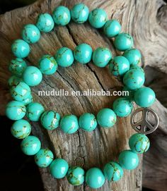B1510165673 Reiki Turquoise Bead Bracelet Natural Howlite Beaded Bracelets Jewelry With Peace Sign Charm