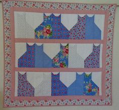 Kitty Quilted Wall Hanging Cat Table Quilt in Blue and Pink