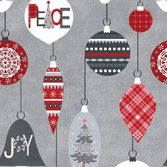 Let it Snow - Contempo (Benartex) - by Cherry Guidry Per Yard - Christmas, snowmen, snowflakes - Grey and white Hounds tooth