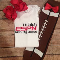I watch ESPN with my Daddy Onesie Football by DirtandDazzle but this will have to say with mommy since Ethan doesn't watch sports lol