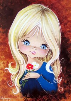 Vintage Postcard of a Big Eyed Blond Girl Vintage Greeting Cards, Vintage Postcards, Vintage Images, Cute Images, Cute Pictures, Bisous Gif, Art Mignon, Eye Art, Cute Illustration